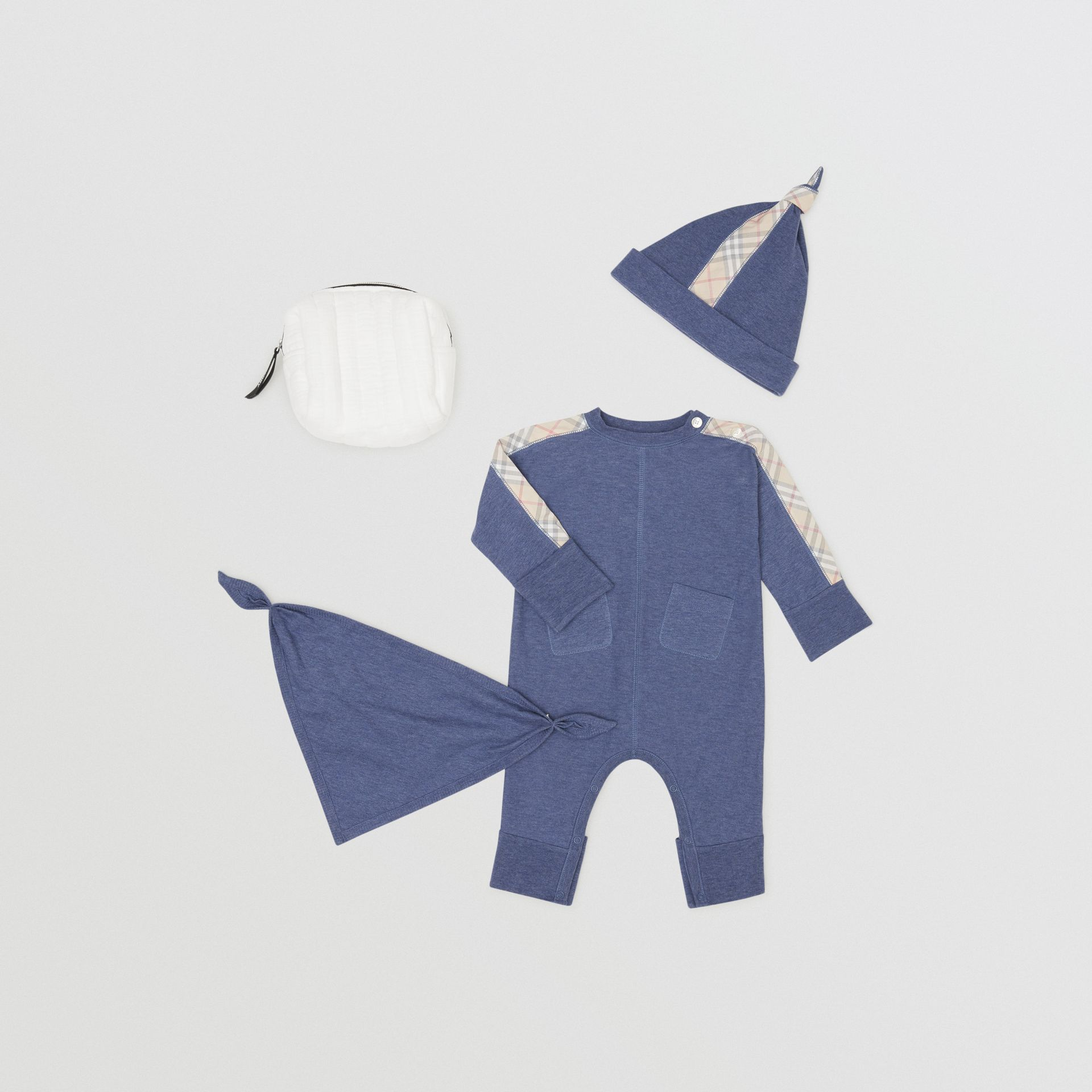 Check Cotton Three-piece Baby Gift Set in Slate Blue Melange - Children | Burberry - gallery image 0