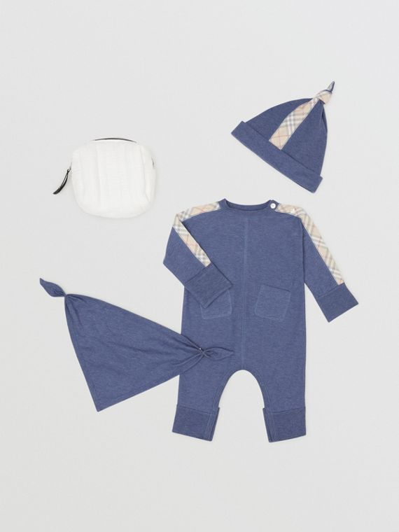 Check Cotton Three-piece Baby Gift Set in Slate Blue Melange