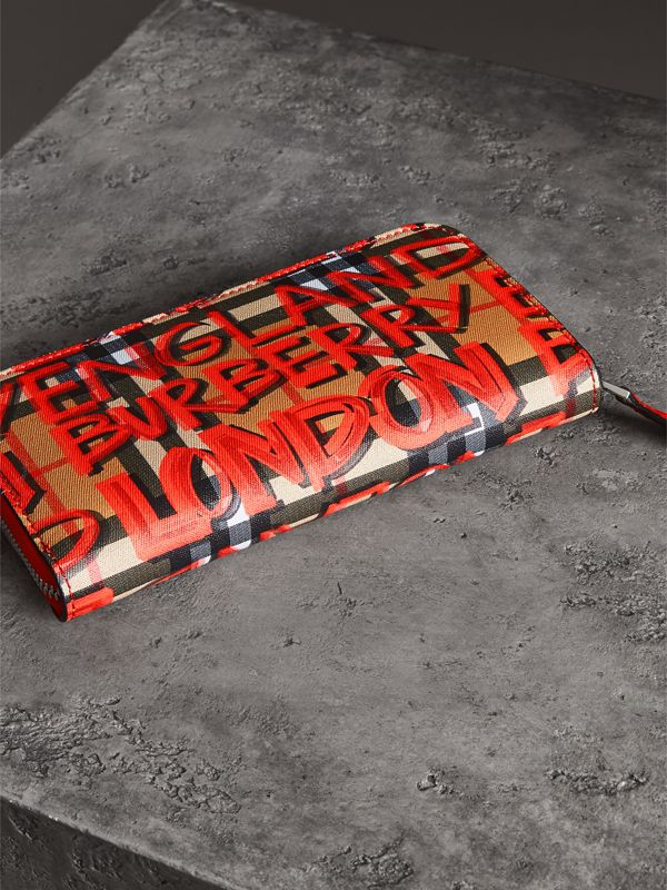 Graffiti Print Vintage Check Leather Ziparound Wallet in Red - Women | Burberry Singapore - cell image 2