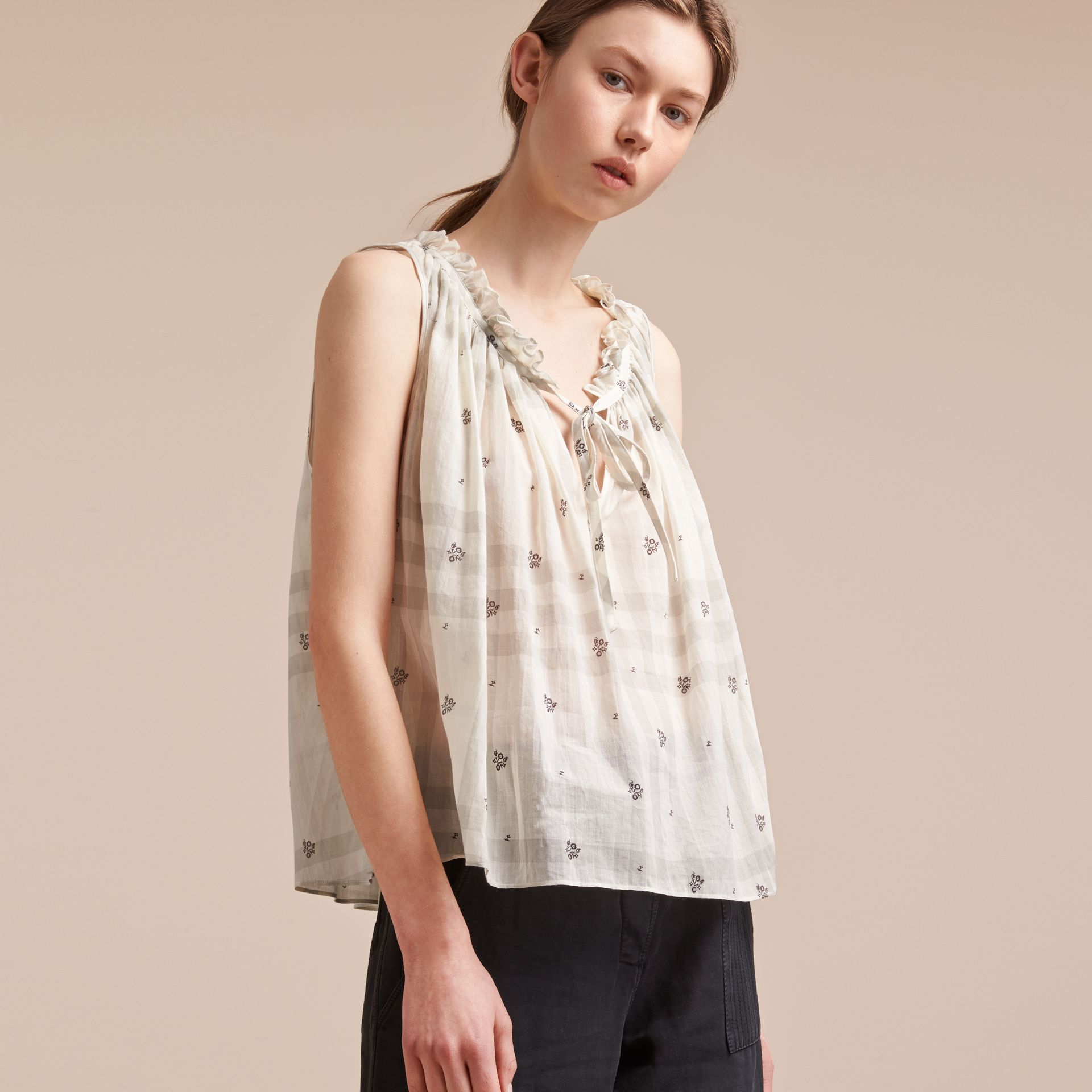 Sleeveless Lightweight Cotton Tie V-neck Top in White - Women | Burberry Singapore - gallery image 6