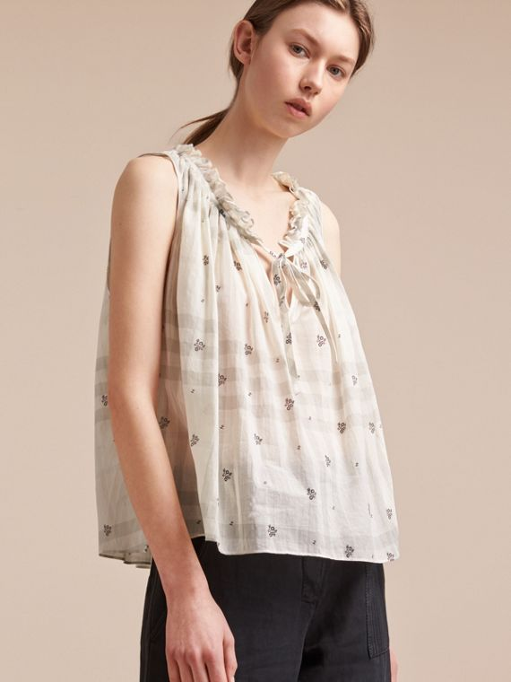Sleeveless Lightweight Cotton Tie V-neck Top in White