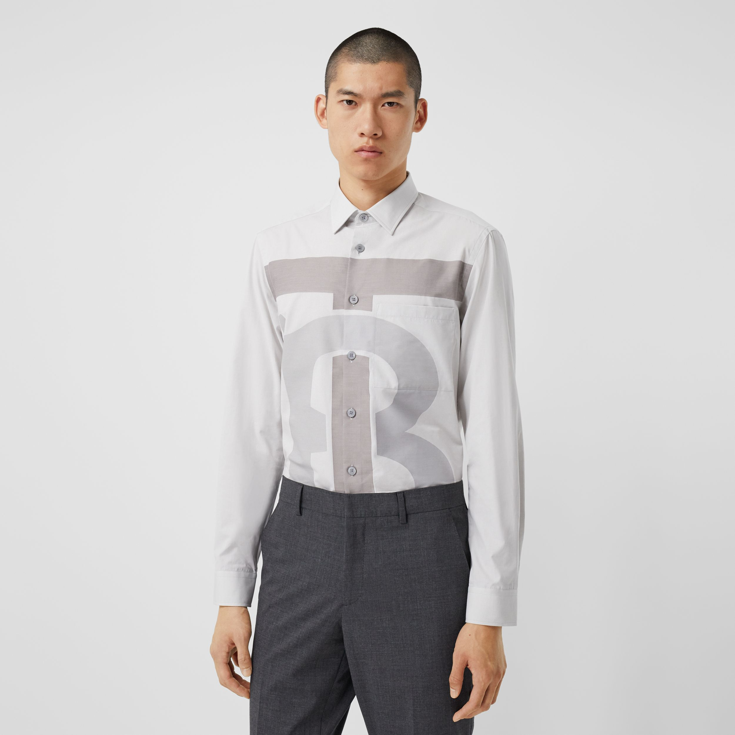 Slim Fit Monogram Motif Cotton Shirt in Pebble Grey - Men | Burberry - 1