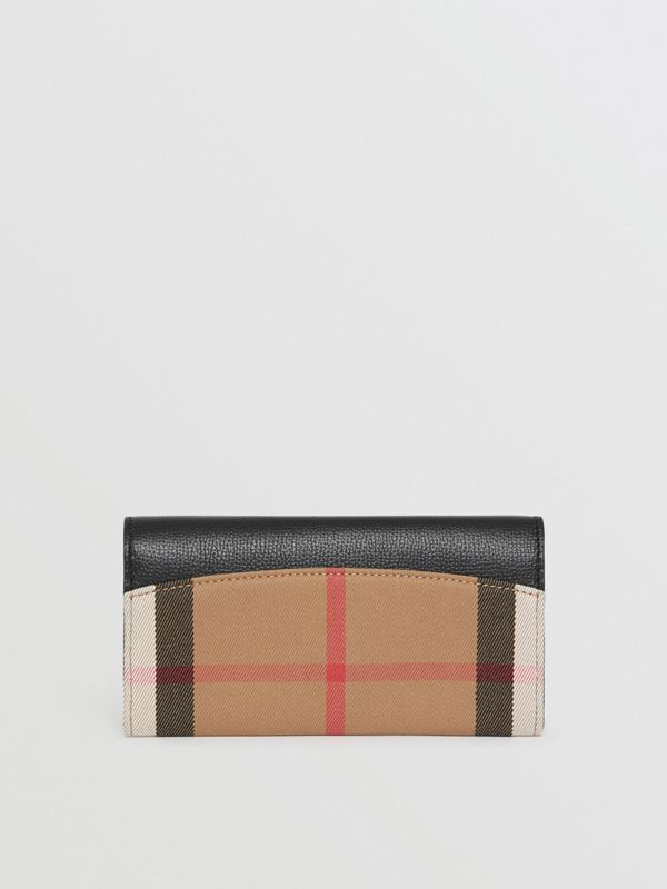 House Check And Leather Continental Wallet in Black - Women | Burberry - cell image 2