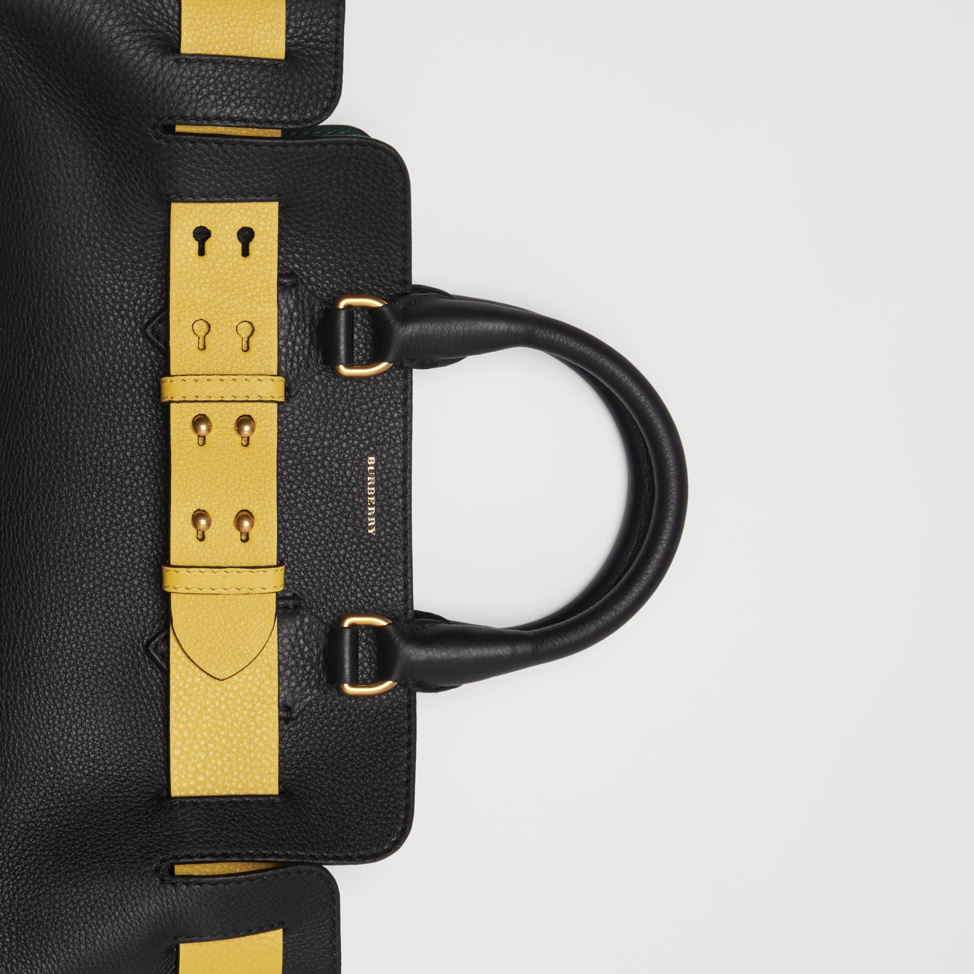 The Small Leather Belt Bag in Black/yellow - Women | Burberry United Kingdom - gallery image 1