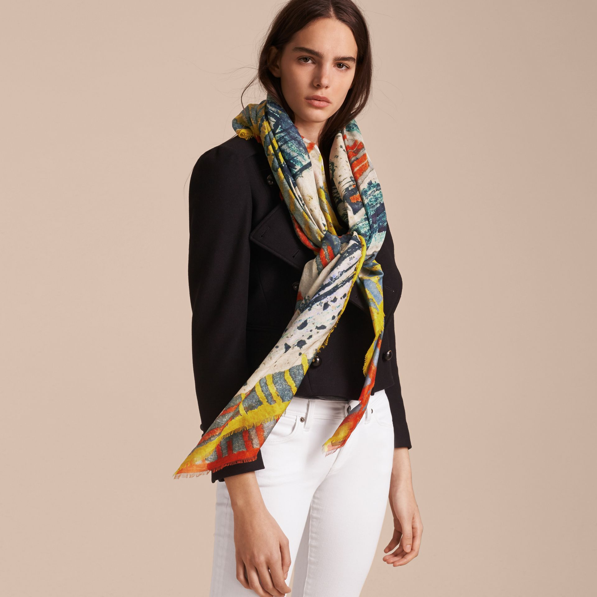 Reclining Figures Print Cotton Square – Large in Stone Blue - Women | Burberry Australia - gallery image 3