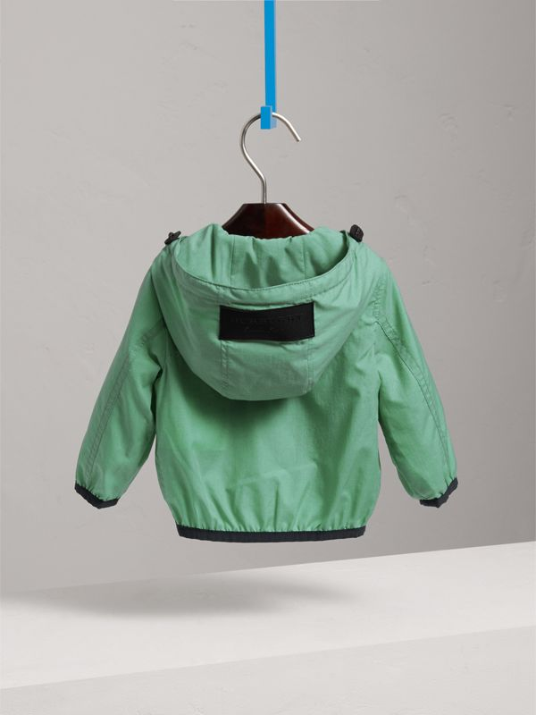 Showerproof Hooded Jacket in Vibrant Green - Children | Burberry - cell image 3