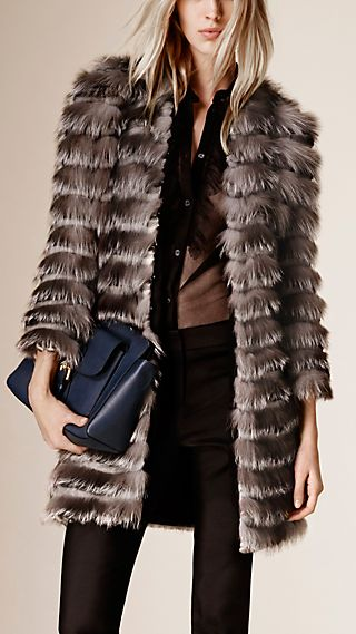 Striped Fox, Mink and Rabbit Fur Coat