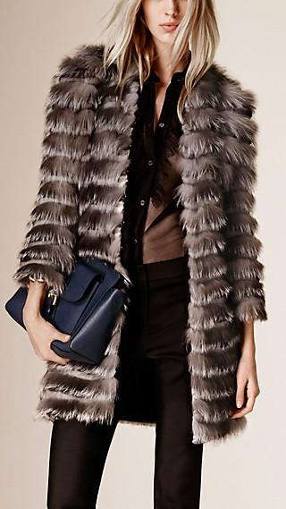 Striped Fox, Mink and Rabbit Fur Coat