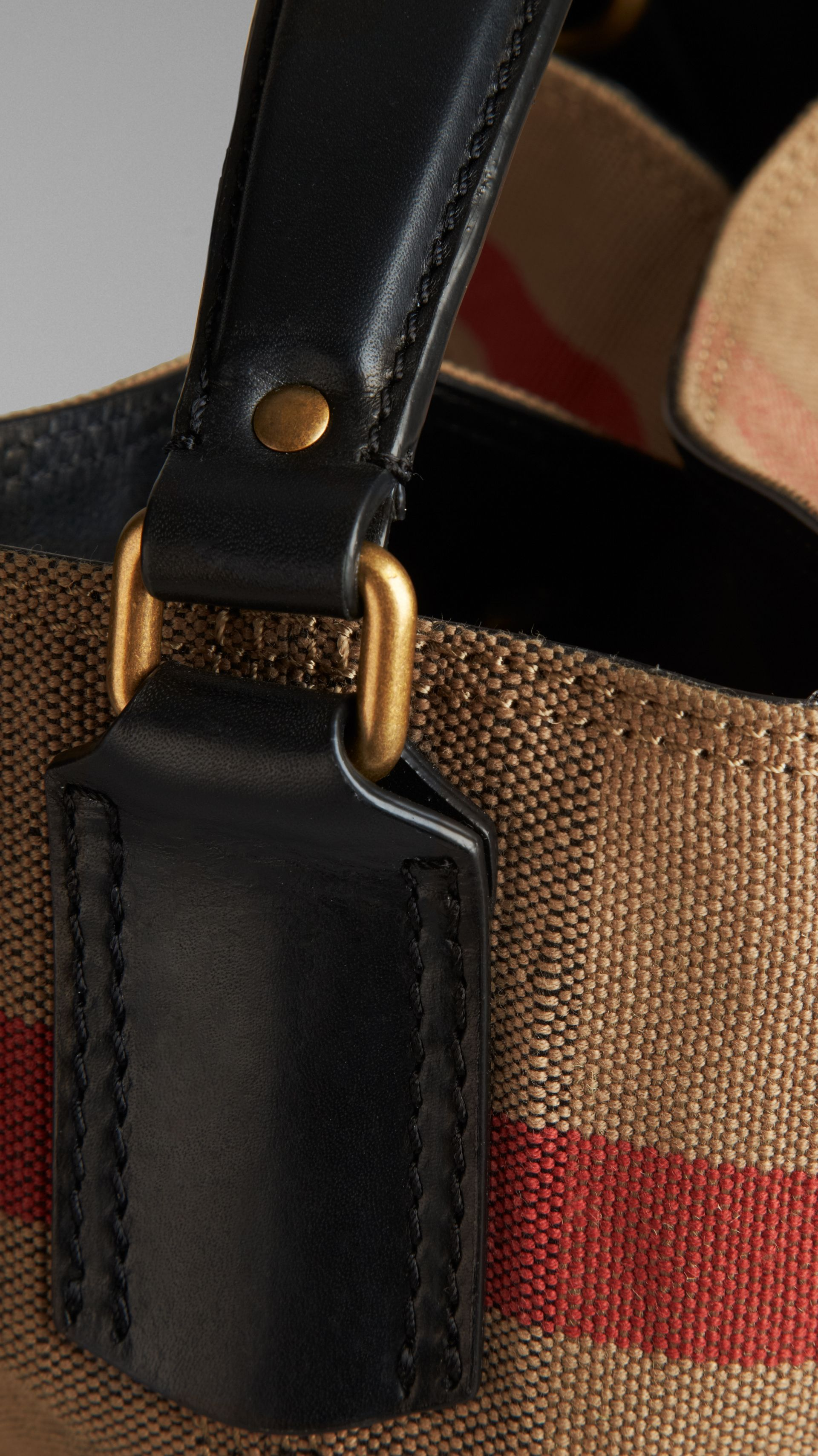 Medium Canvas Check Hobo Bag in Black - Women | Burberry - gallery image 5