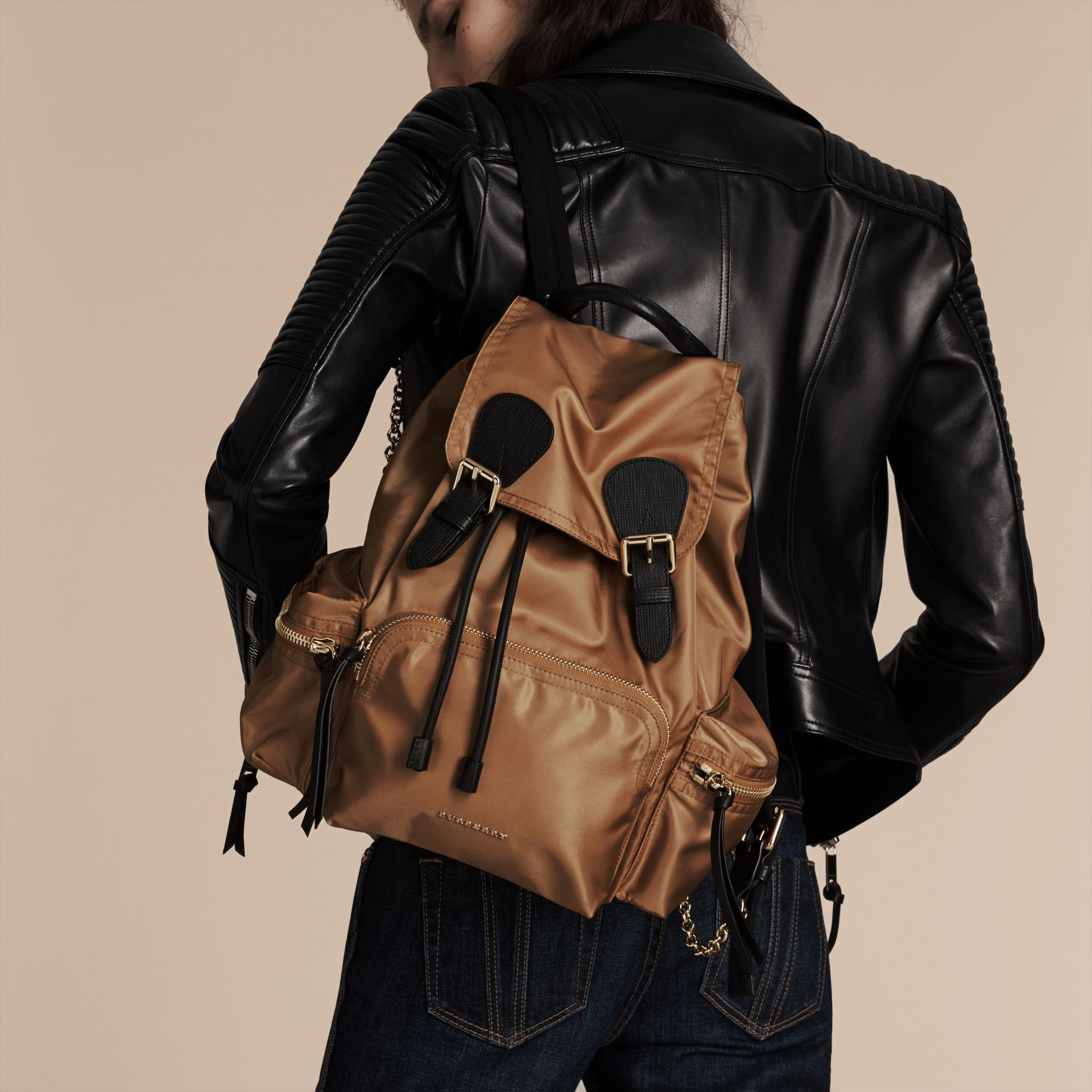 The Medium Rucksack in Technical Nylon and Leather in Light Flax - gallery image 4