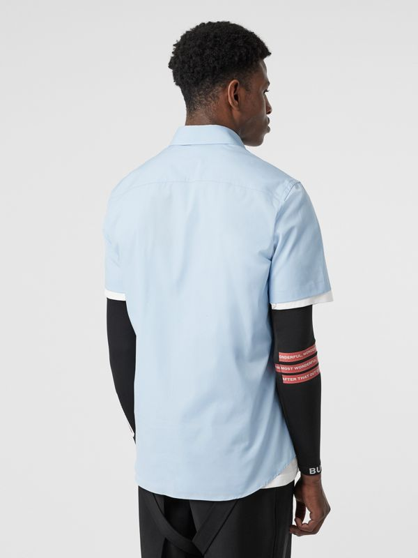 Short-sleeve Monogram Motif Stretch Cotton Shirt in Pale Blue - Men | Burberry - cell image 2