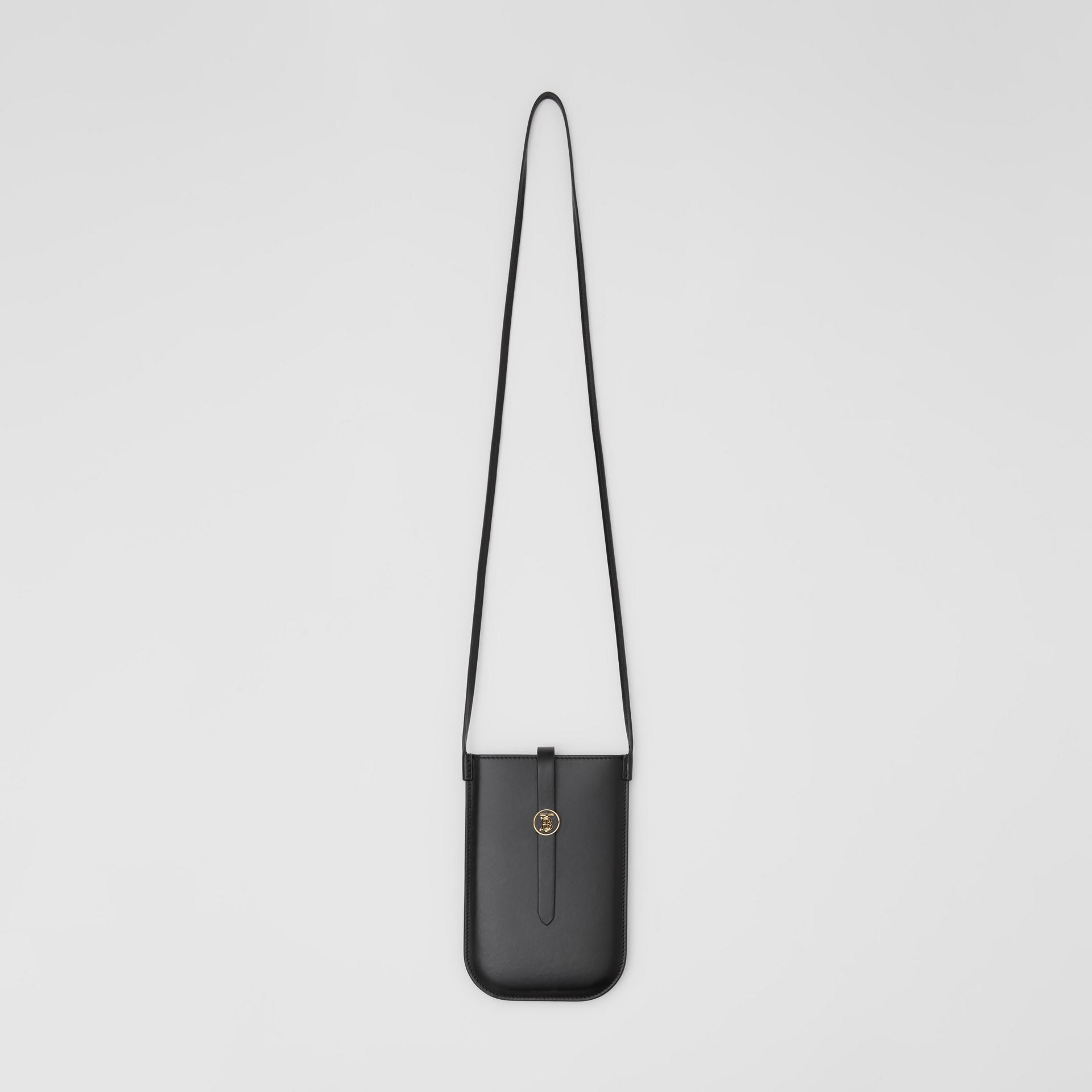 Leather Phone Case with Strap in Black | Burberry - gallery image 4