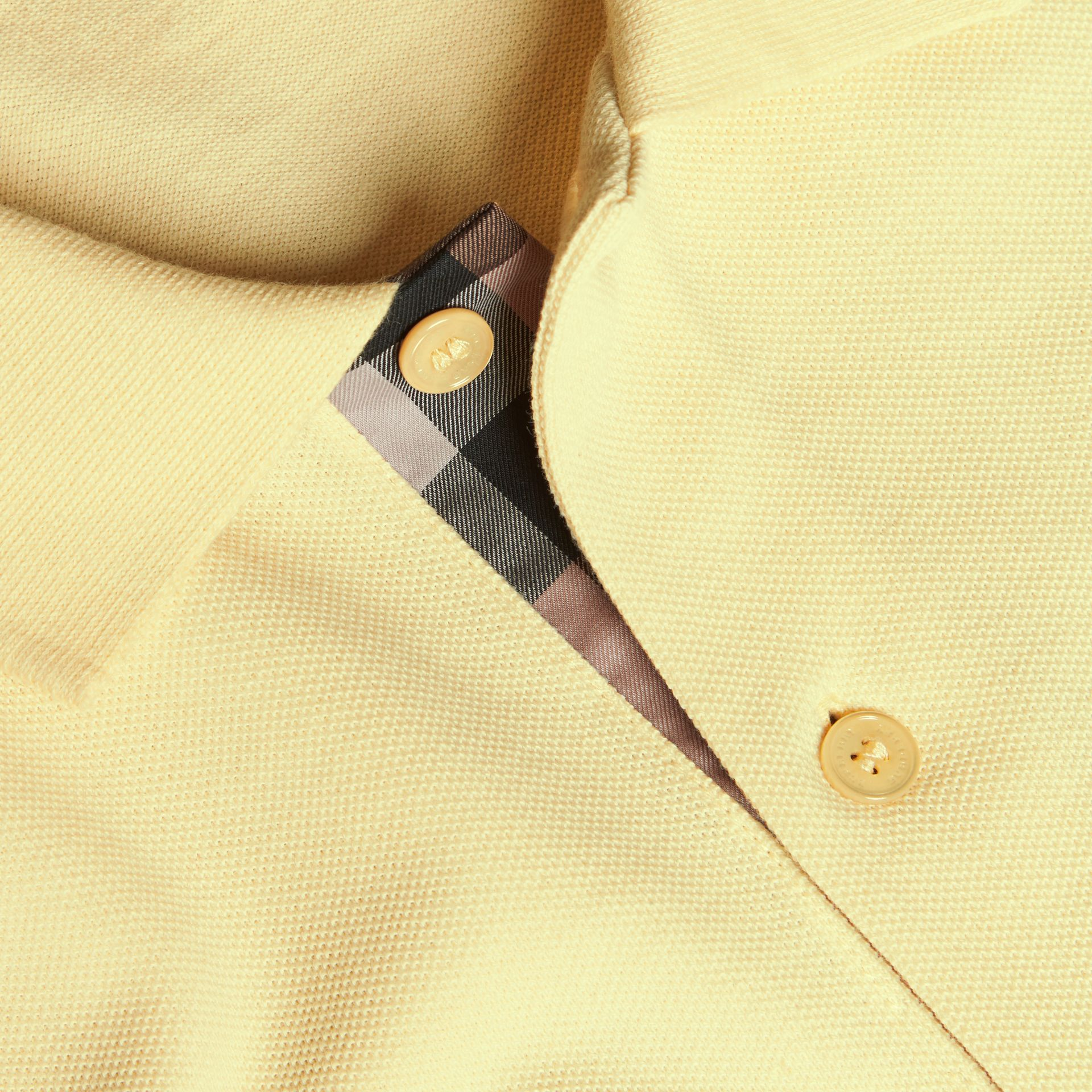 Check Placket Cotton Piqué Polo Shirt in Vanilla Yellow - Men | Burberry - gallery image 2