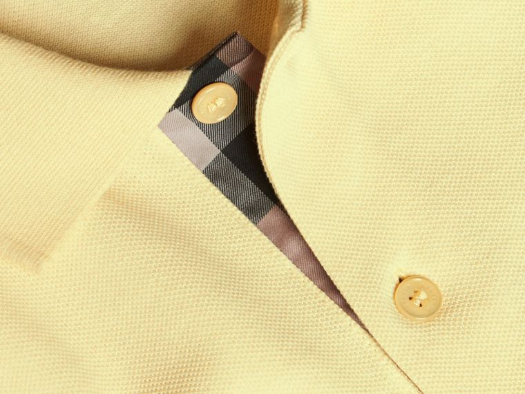 Check Placket Cotton Piqué Polo Shirt in Vanilla Yellow - Men | Burberry - cell image 1