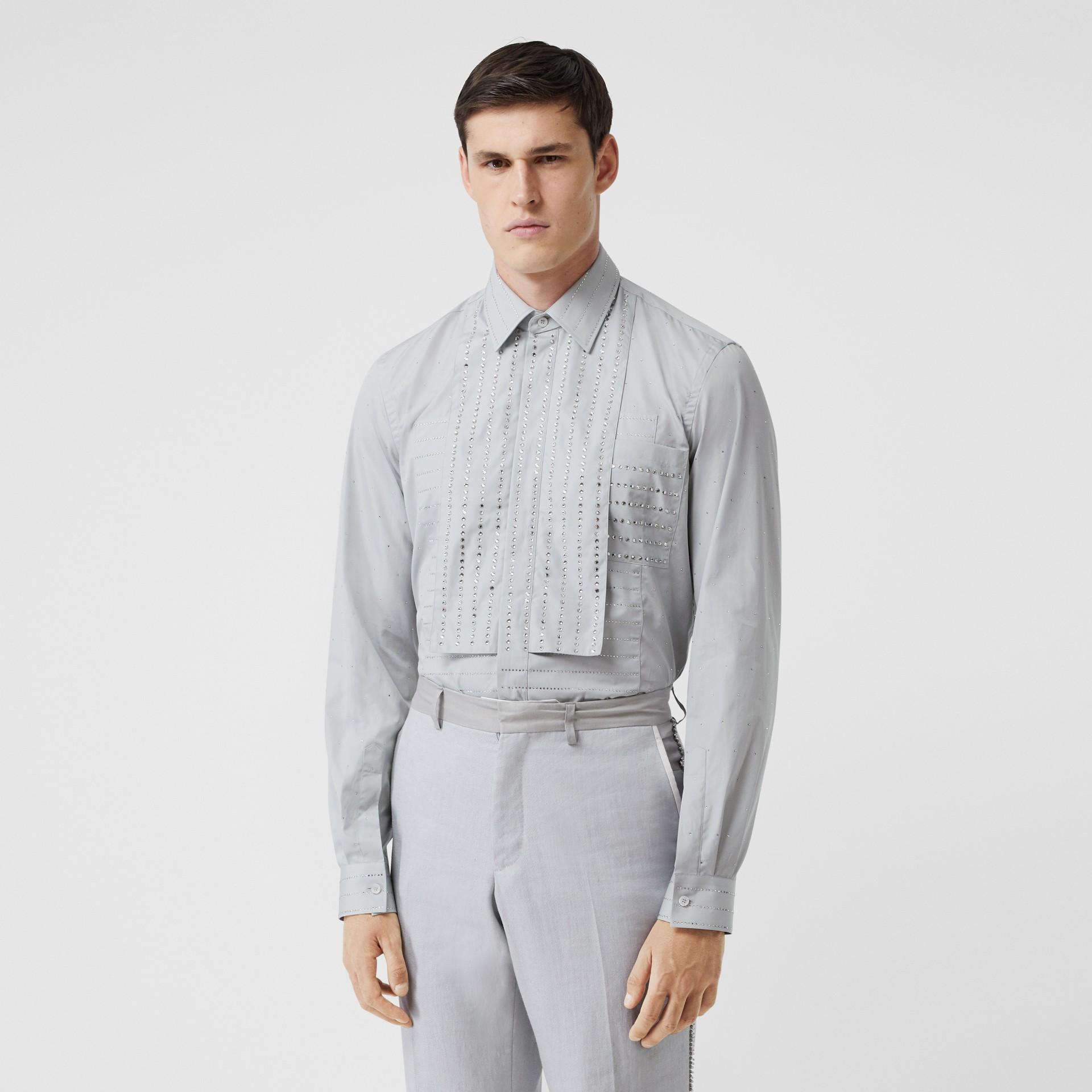 Detachable Collar Crystal Detail Cotton Poplin Shirt in Light Pebble Grey | Burberry Australia - gallery image 0