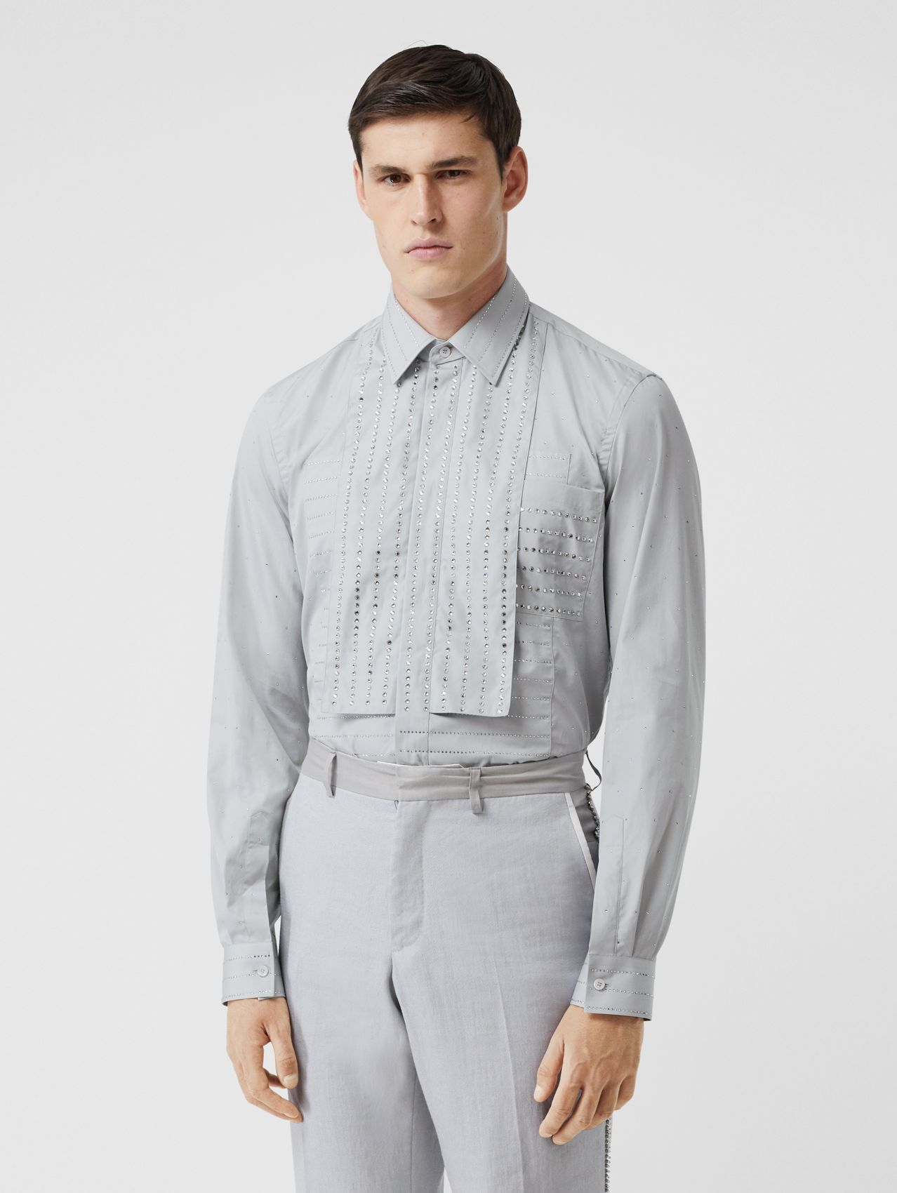 Detachable Collar Crystal Detail Cotton Poplin Shirt (Light Pebble Grey)