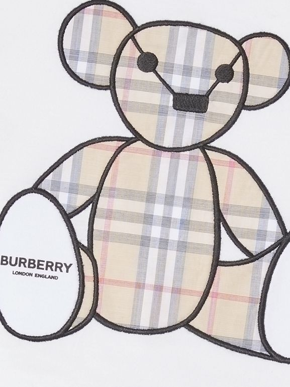 Thomas Bear Appliqué Cotton Jumpsuit in White - Children | Burberry United States - cell image 1