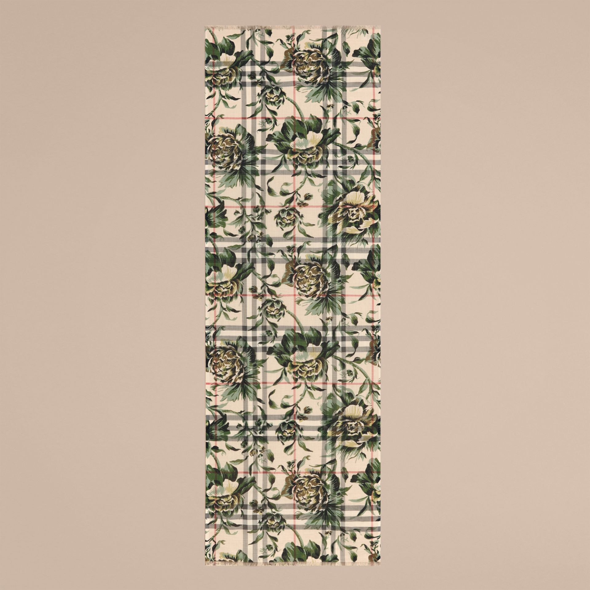 Peony Rose Print Check Wool Silk Scarf in Stone/apple Green - gallery image 4