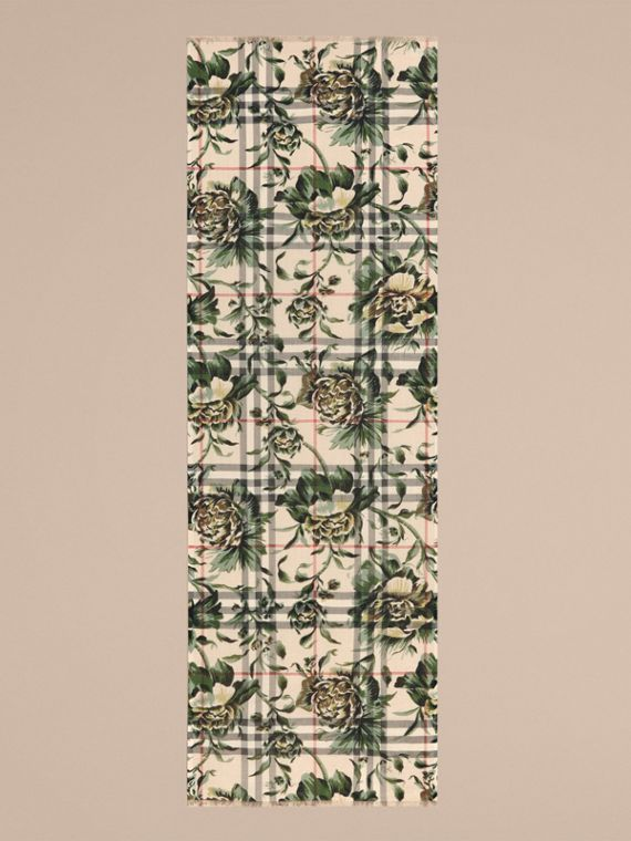 Peony Rose Print Check Wool Silk Scarf in Stone/apple Green - cell image 3