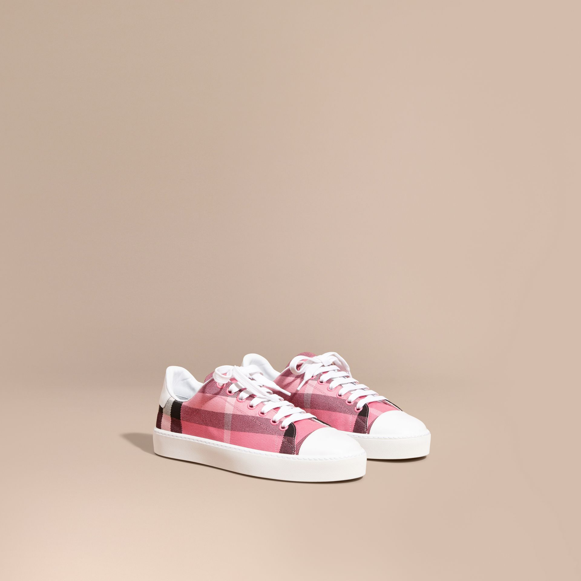 Check and Leather Trainers in Rose Pink - gallery image 1