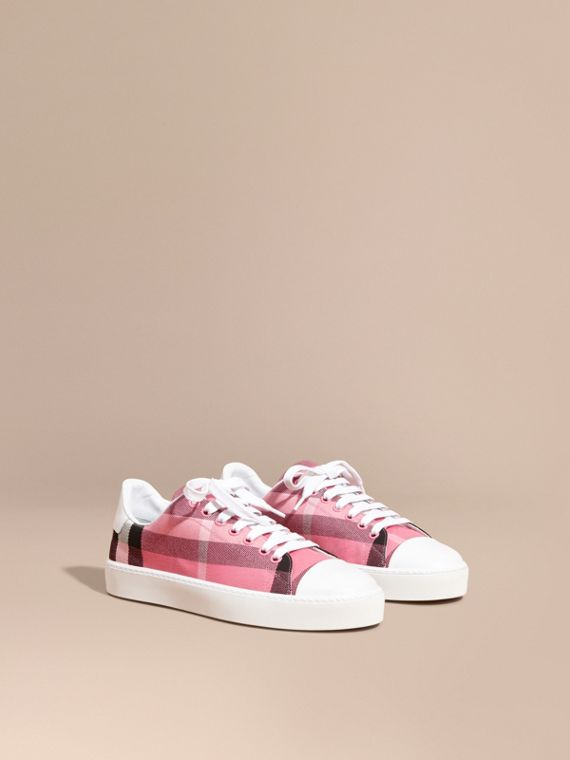 Check and Leather Trainers Rose Pink