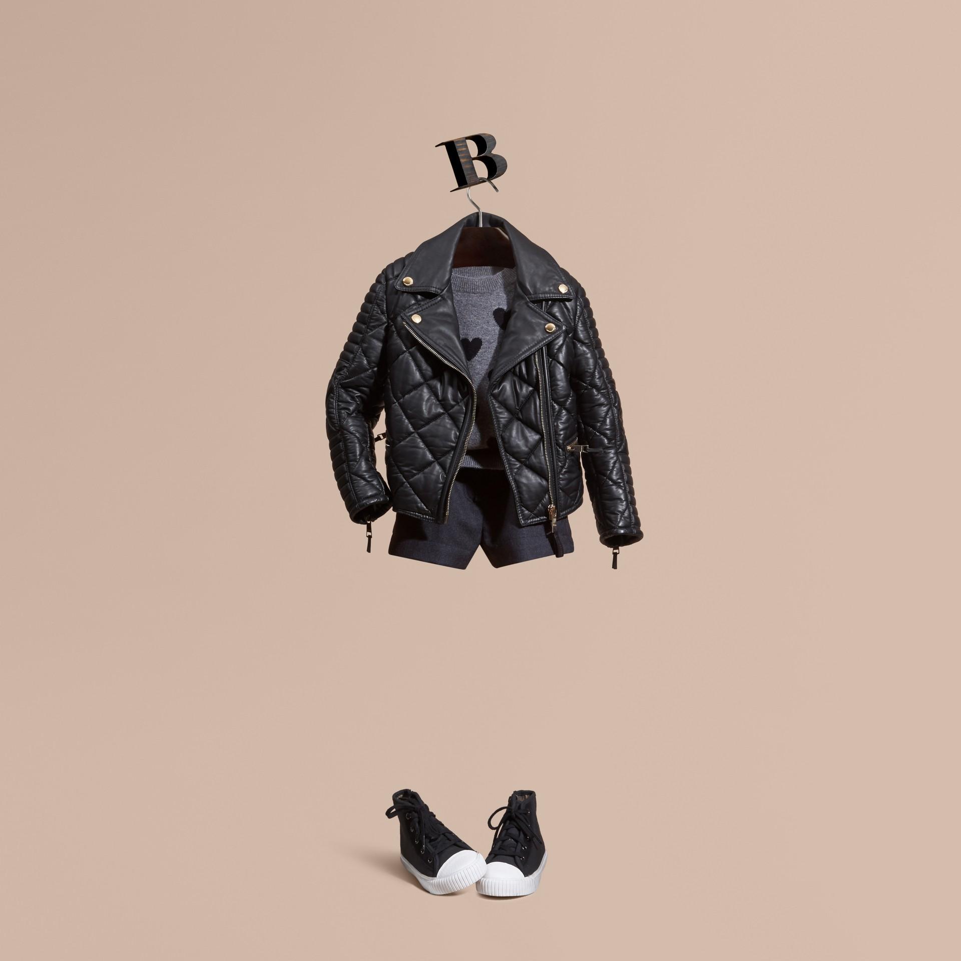 Black Quilted Lambskin Biker Jacket - gallery image 1