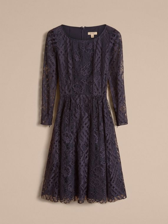 Check Lace Fit and Flare Dress in Navy - Women | Burberry - cell image 3