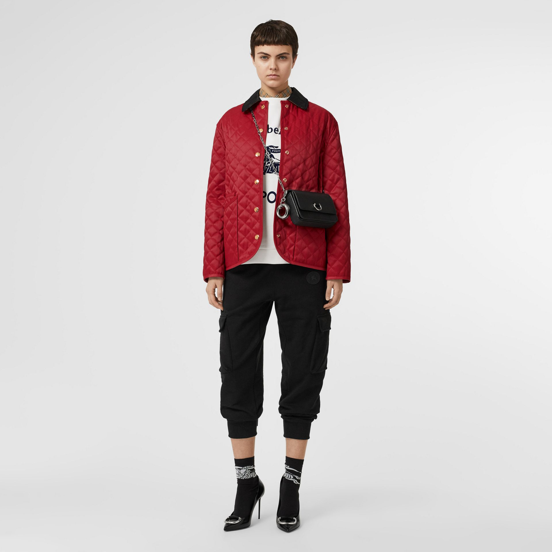 Diamond Quilted Barn Jacket in Red - Women | Burberry - gallery image 0