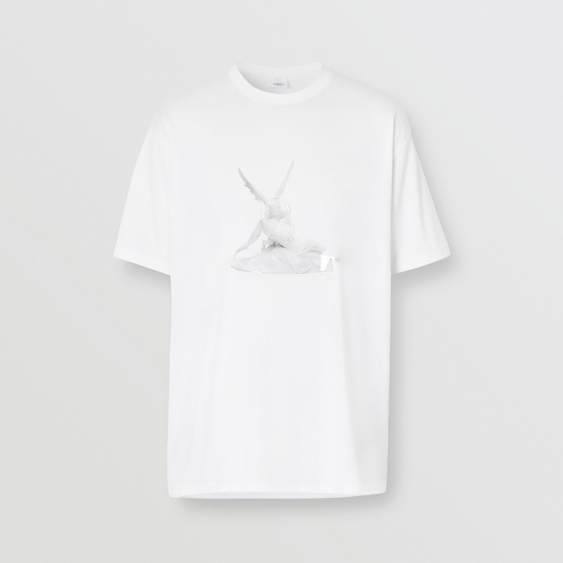 Cupid Print Cotton Oversized T-shirt in White - Men | Burberry - gallery image 3