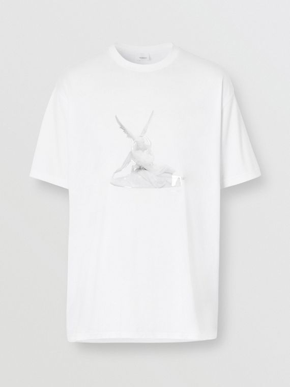 Cupid Print Cotton Oversized T-shirt in White