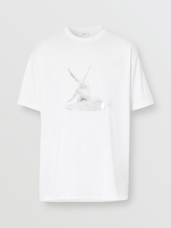 Cupid Print Cotton Oversized T-shirt in White - Men | Burberry - cell image 3