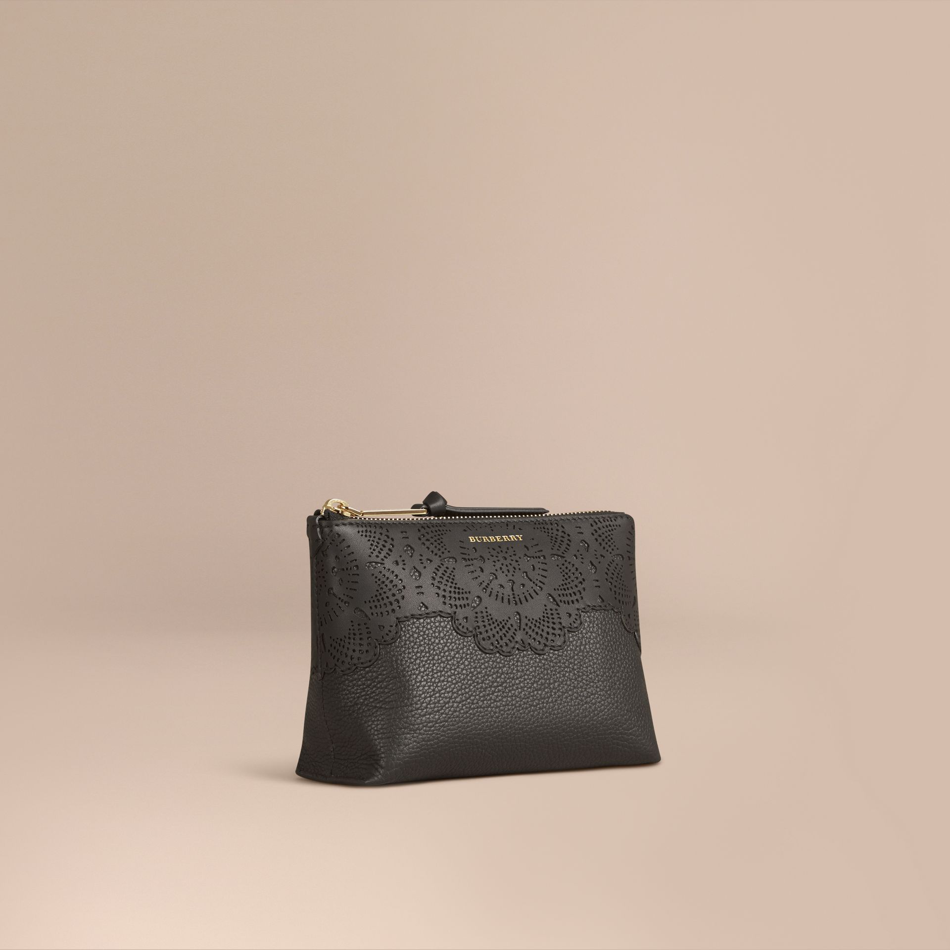 Black Medium Grainy Leather Beauty Pouch - gallery image 1