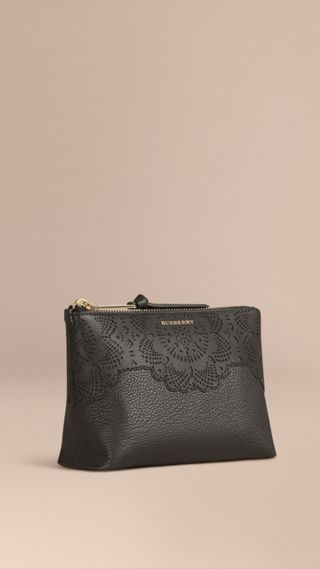 Medium Grainy Leather Beauty Pouch