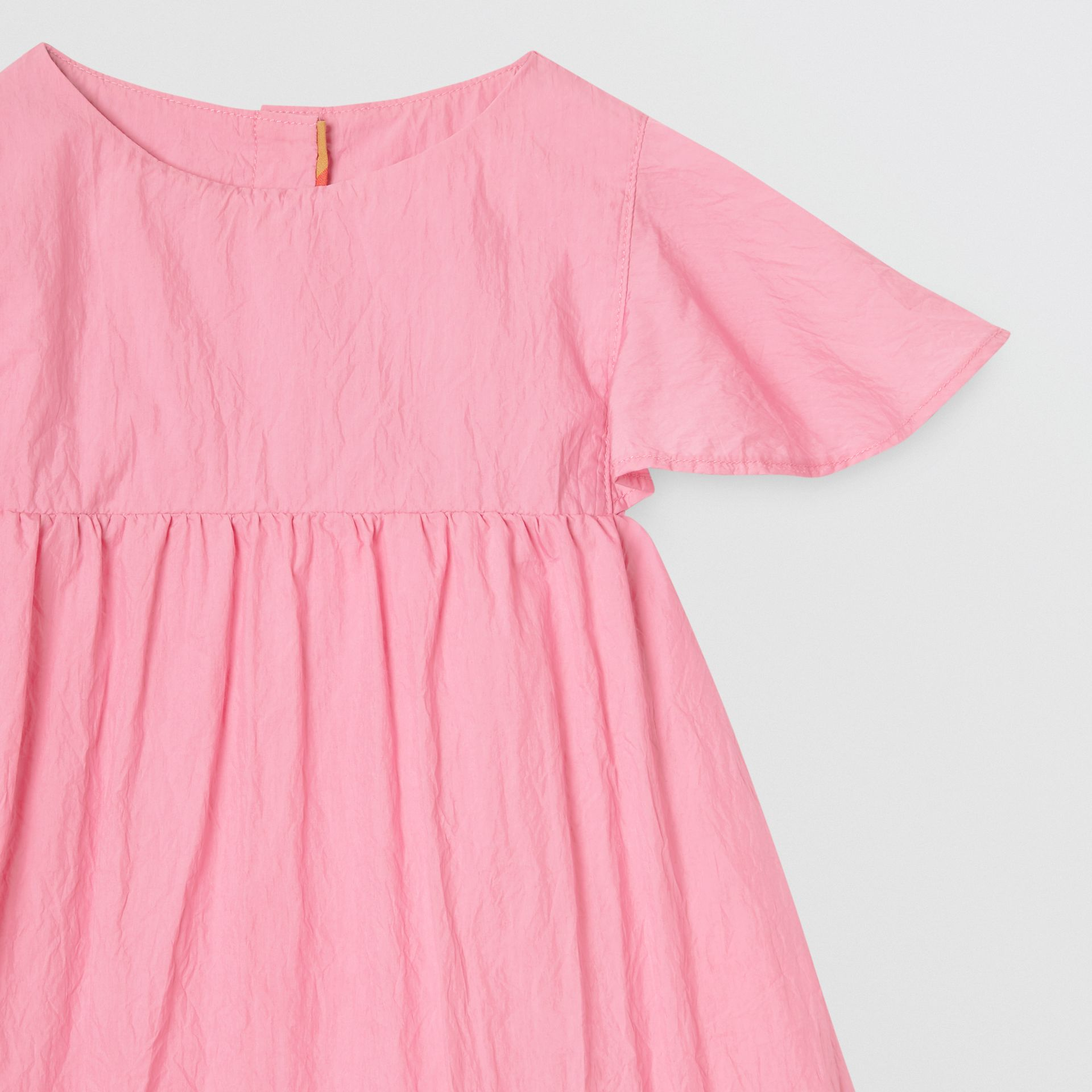 Ruffled Detail Crinkled Cotton Blend Dress in Bright Rose - Children | Burberry - gallery image 4