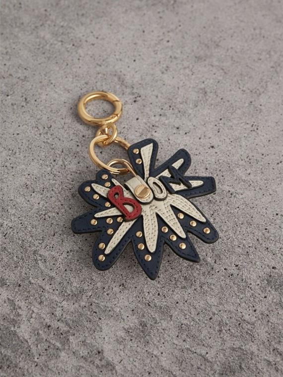 Bijou porte-clés en cuir à motif Doodle avec cadenas (Naturel)
