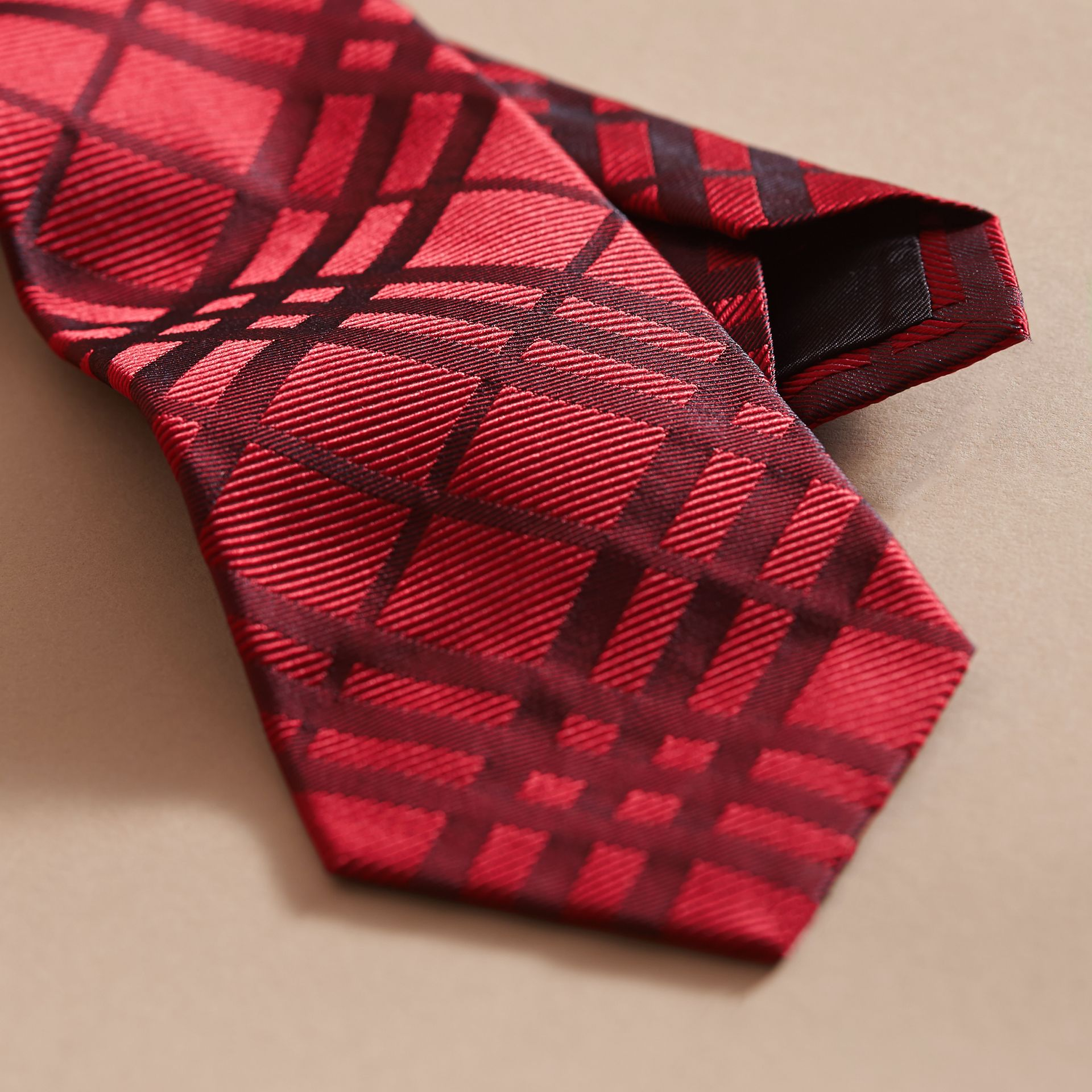 Modern Cut Check Jacquard Silk TIe Parade Red - gallery image 2