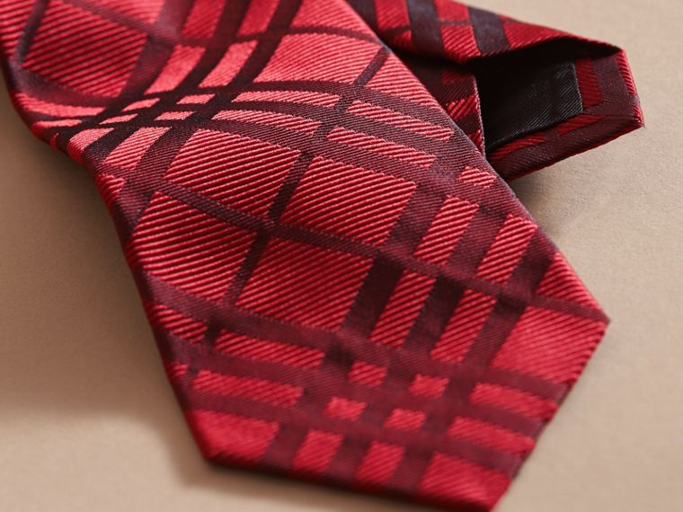 Modern Cut Check Jacquard Silk TIe Parade Red - cell image 1