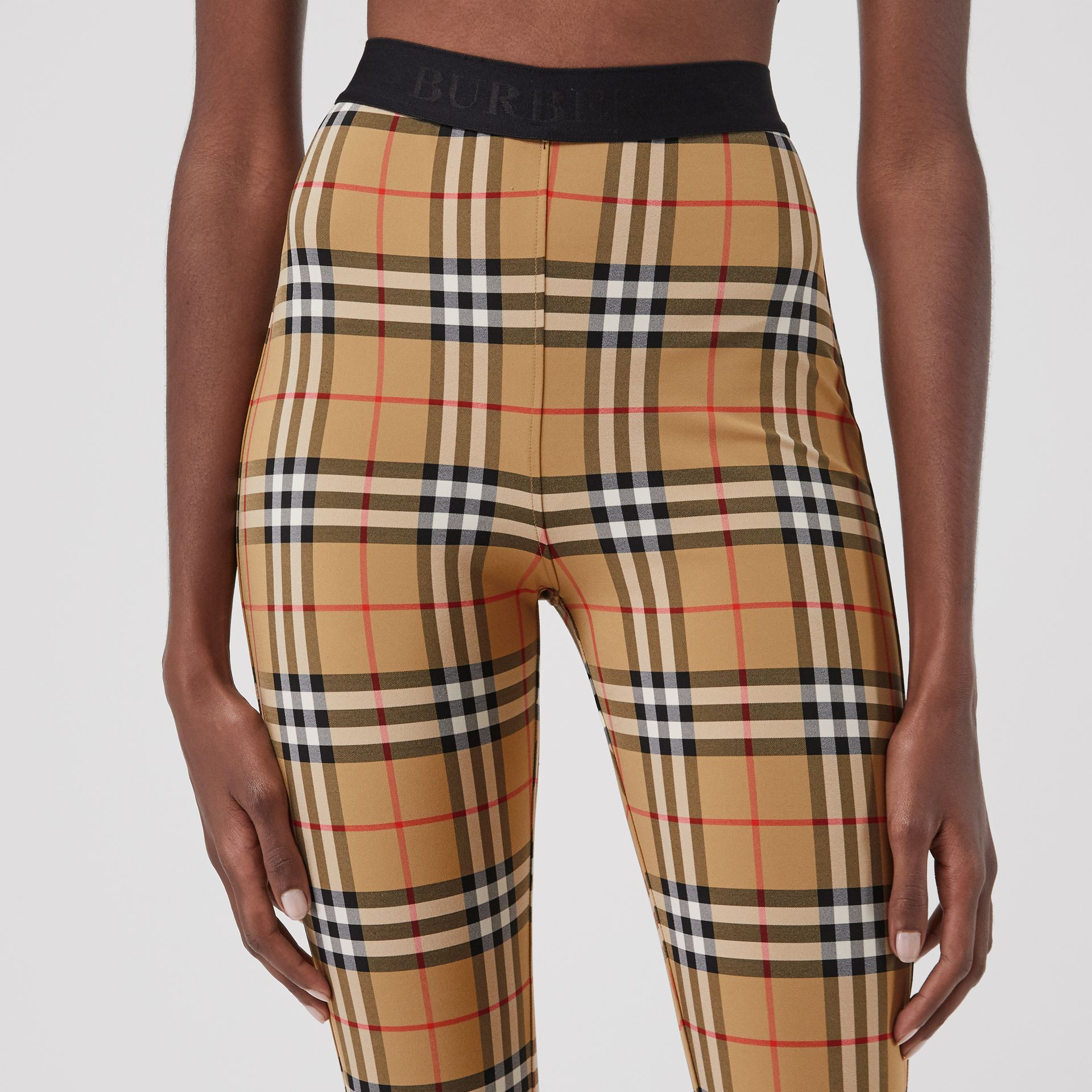 Vintage Check Leggings in Antique Yellow Chk - Women | Burberry - gallery image 1