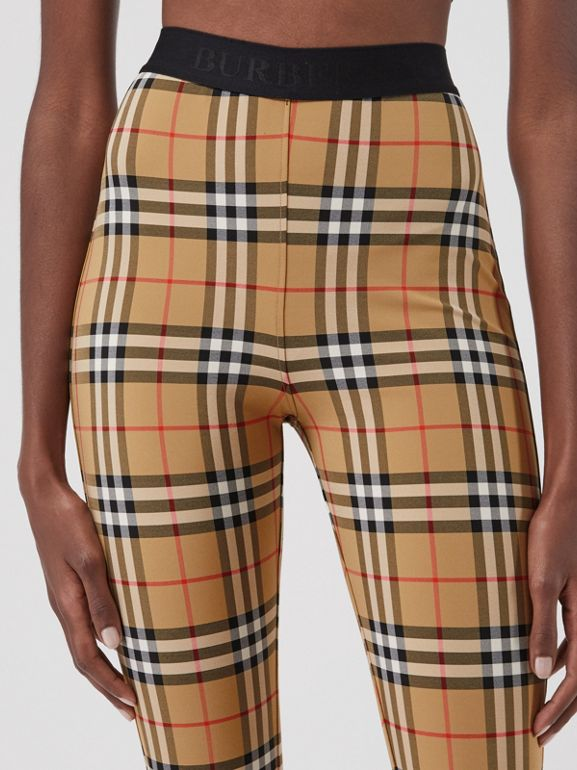 Vintage Check Leggings in Antique Yellow Chk - Women | Burberry - cell image 1