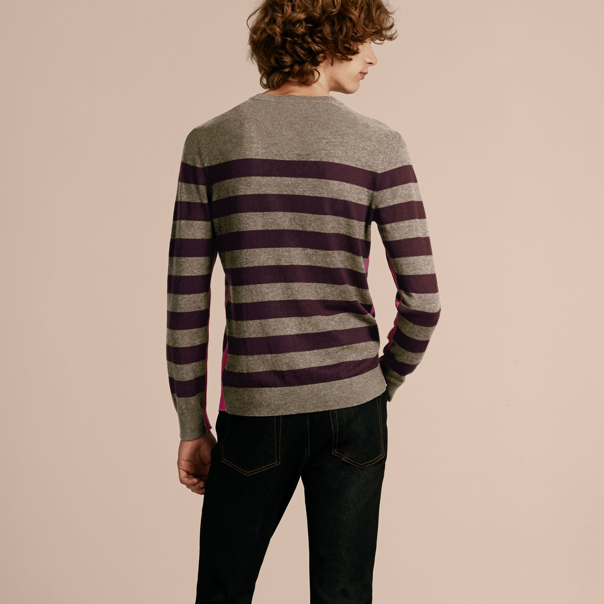 Striped Cashmere Cotton Sweater Mink Grey - gallery image 3