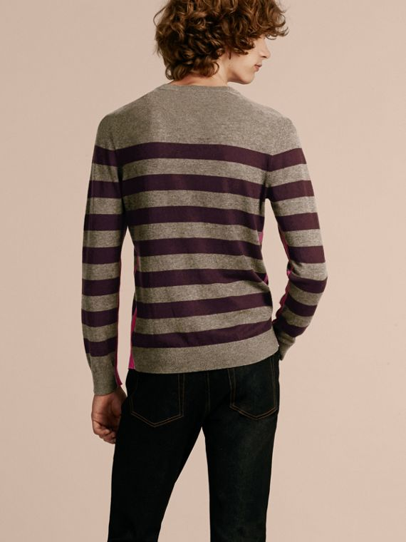 Mink grey Striped Cashmere Cotton Sweater Mink Grey - cell image 2