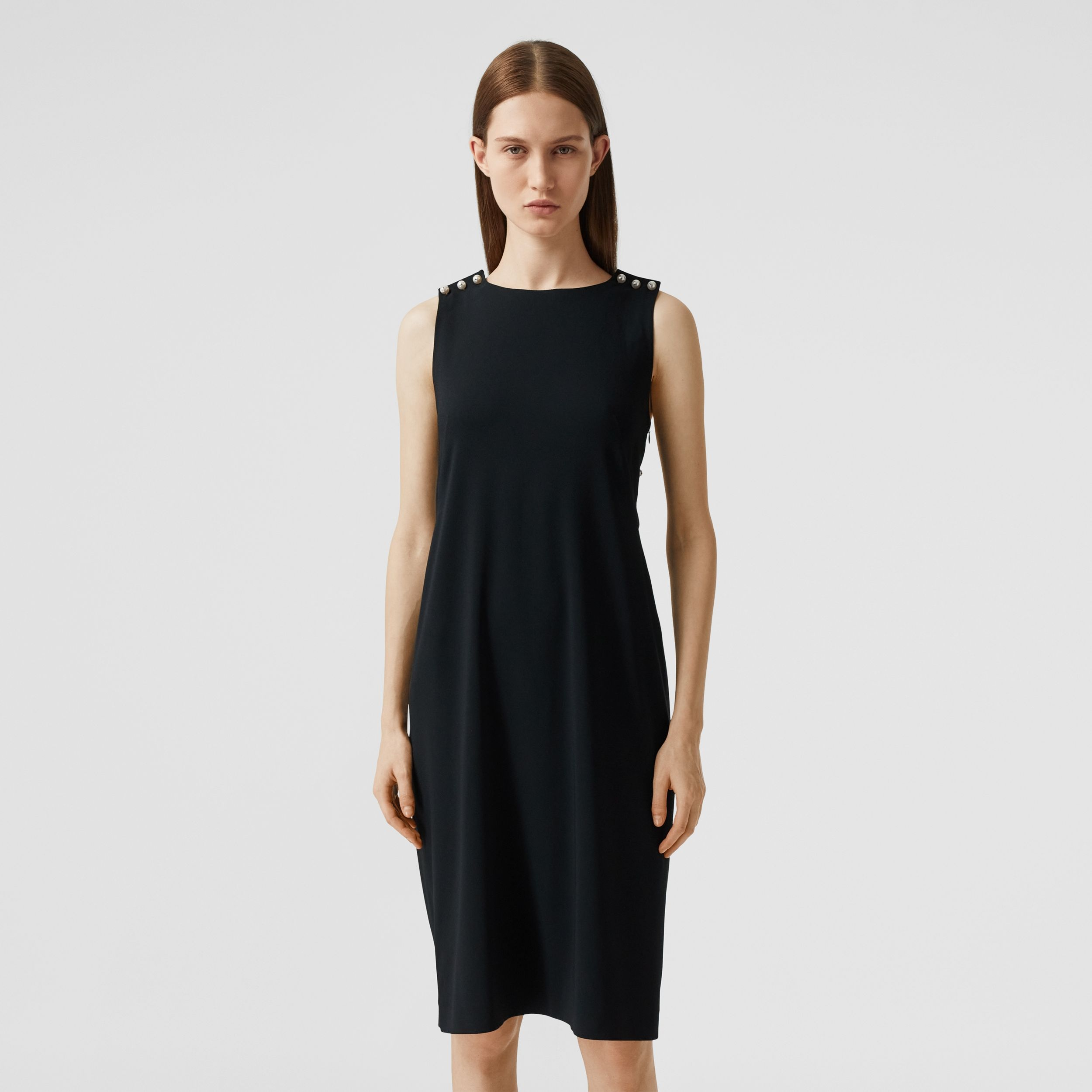 Glass Pearl Detail Satin Crepe Shift Dress in Black - Women | Burberry - 3