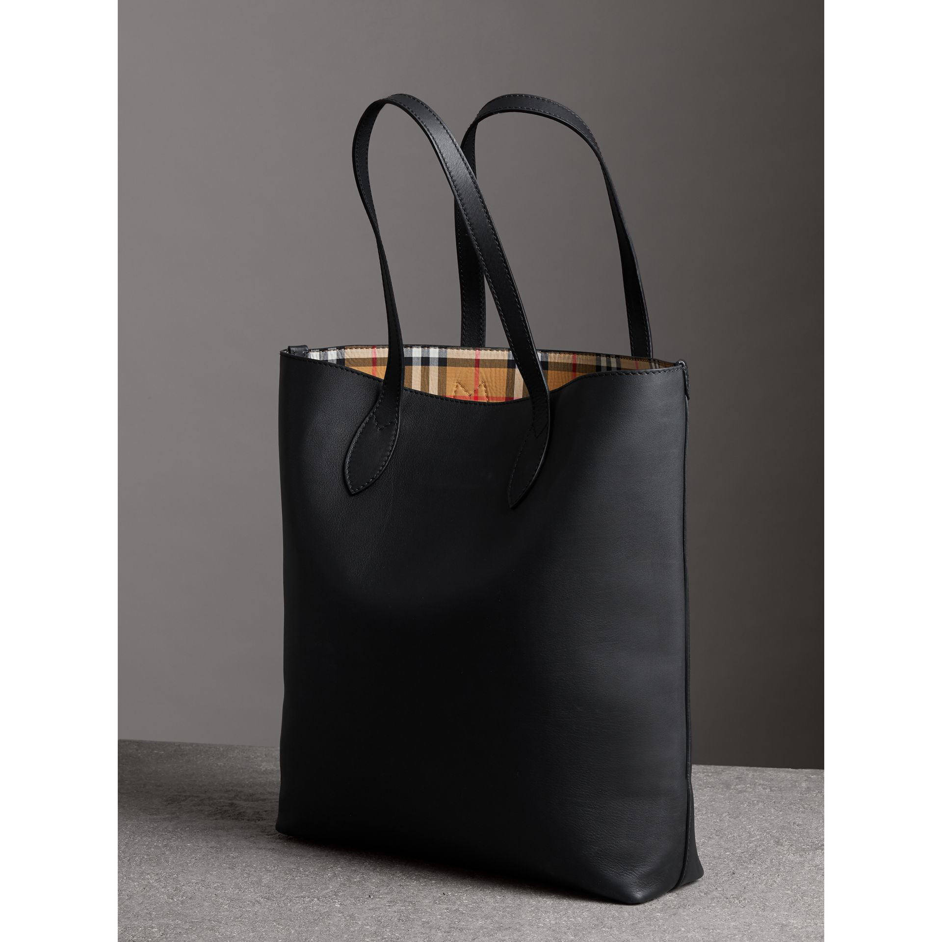 Graffiti Print Bonded Leather Tote in Black | Burberry - gallery image 6