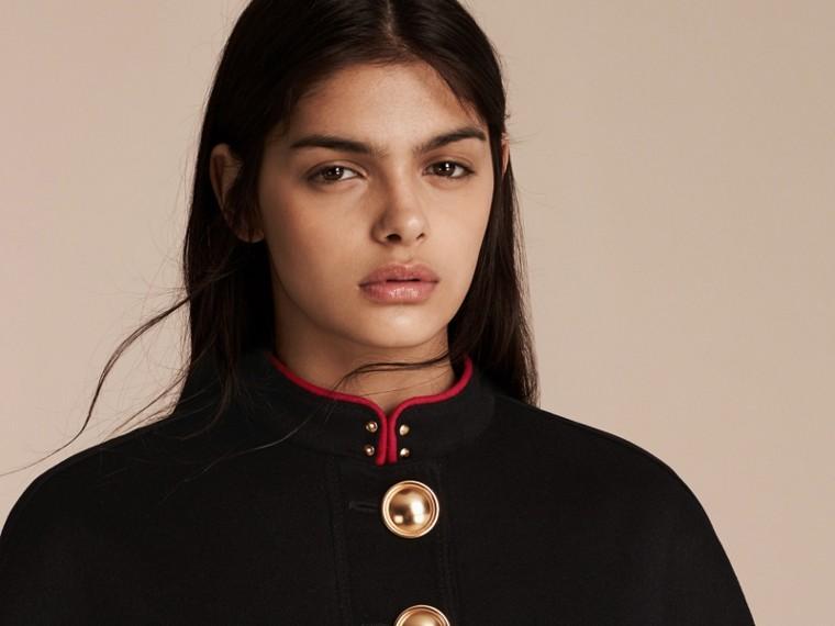 Черный Пальто с пелериной из кашемира в стиле милитари - cell image 4