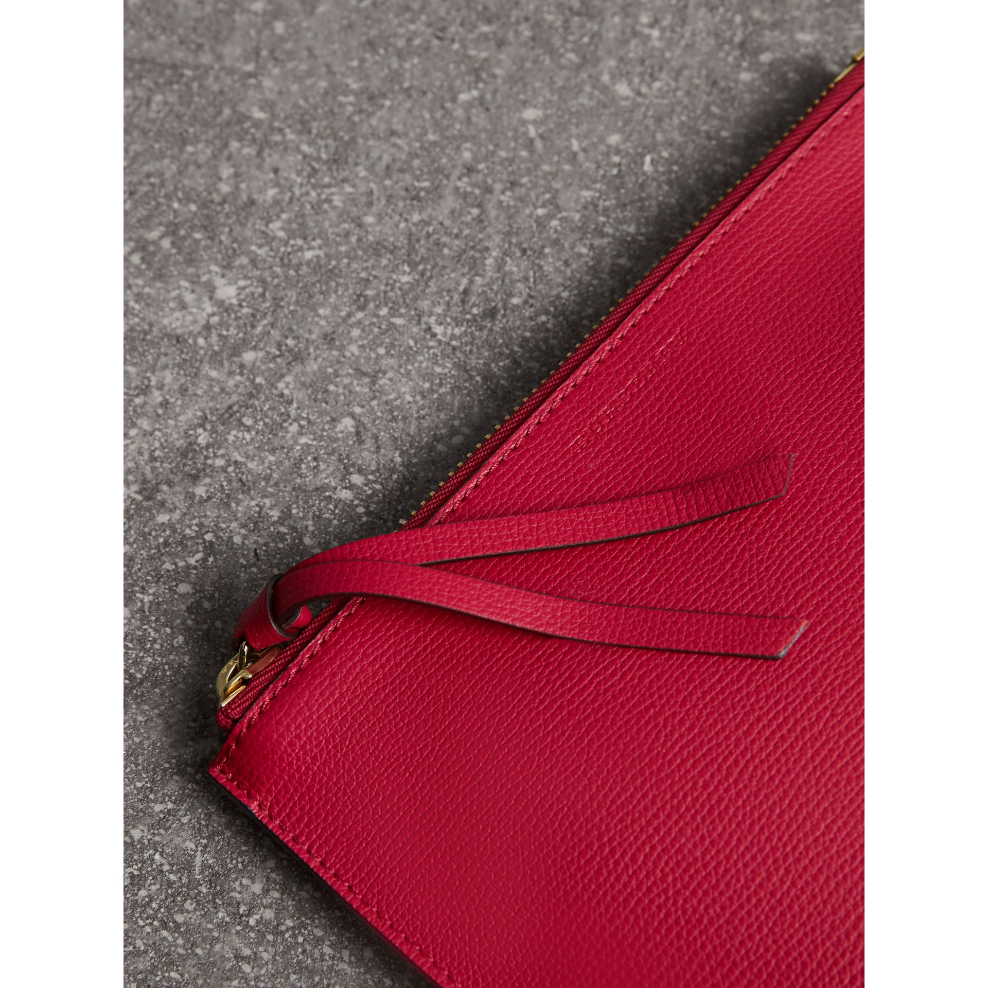 Haymarket Check and Leather Pouch in Poppy Red - Women | Burberry - gallery image 2