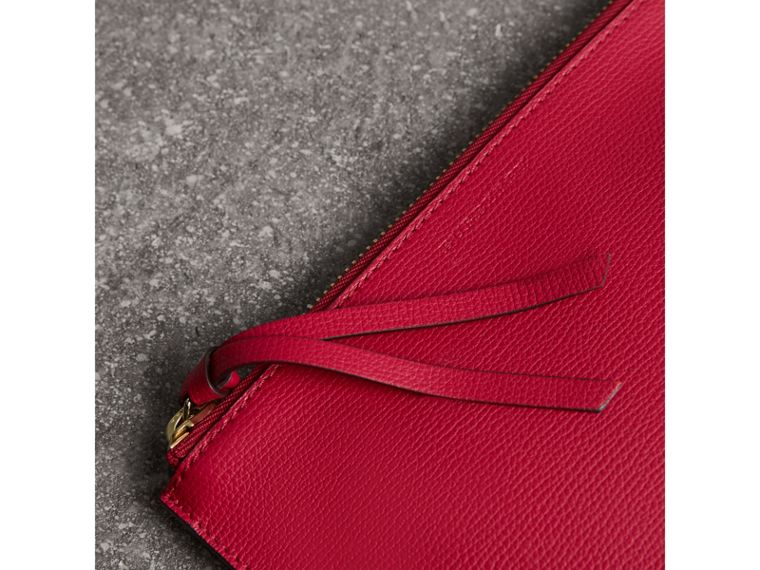 Haymarket Check and Leather Pouch in Poppy Red - Women | Burberry - cell image 1