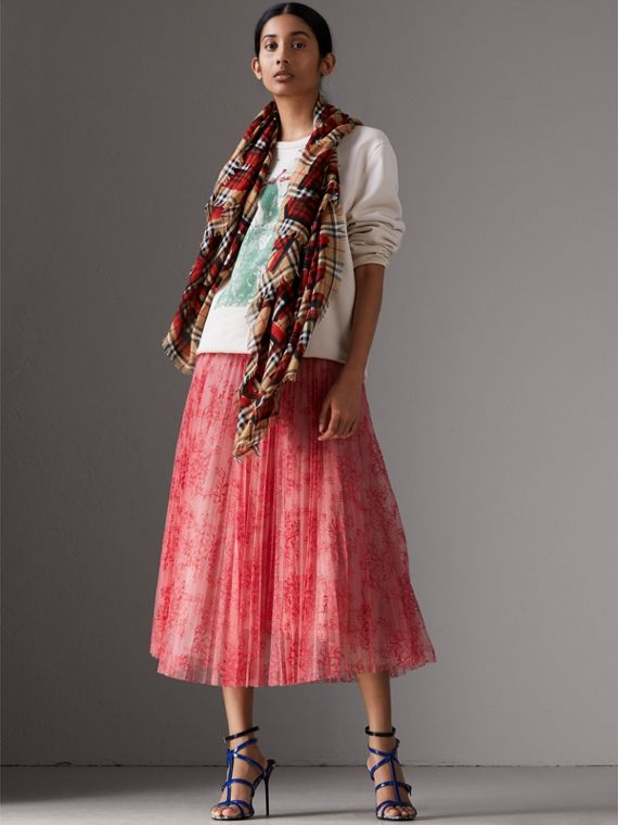 Graffiti Print Check Wool Silk Large Square Scarf in Bright Red | Burberry - cell image 2