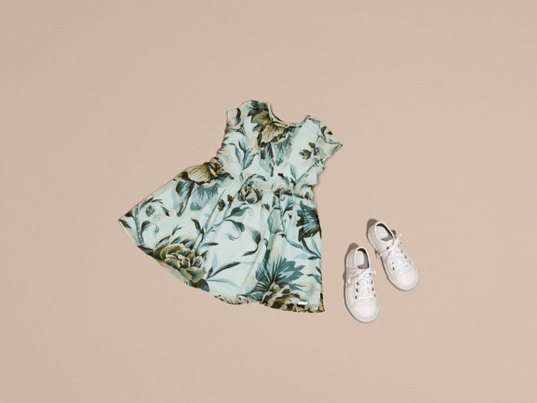 Peony Rose Print Silk Dress in Celadon Blue - cell image 4