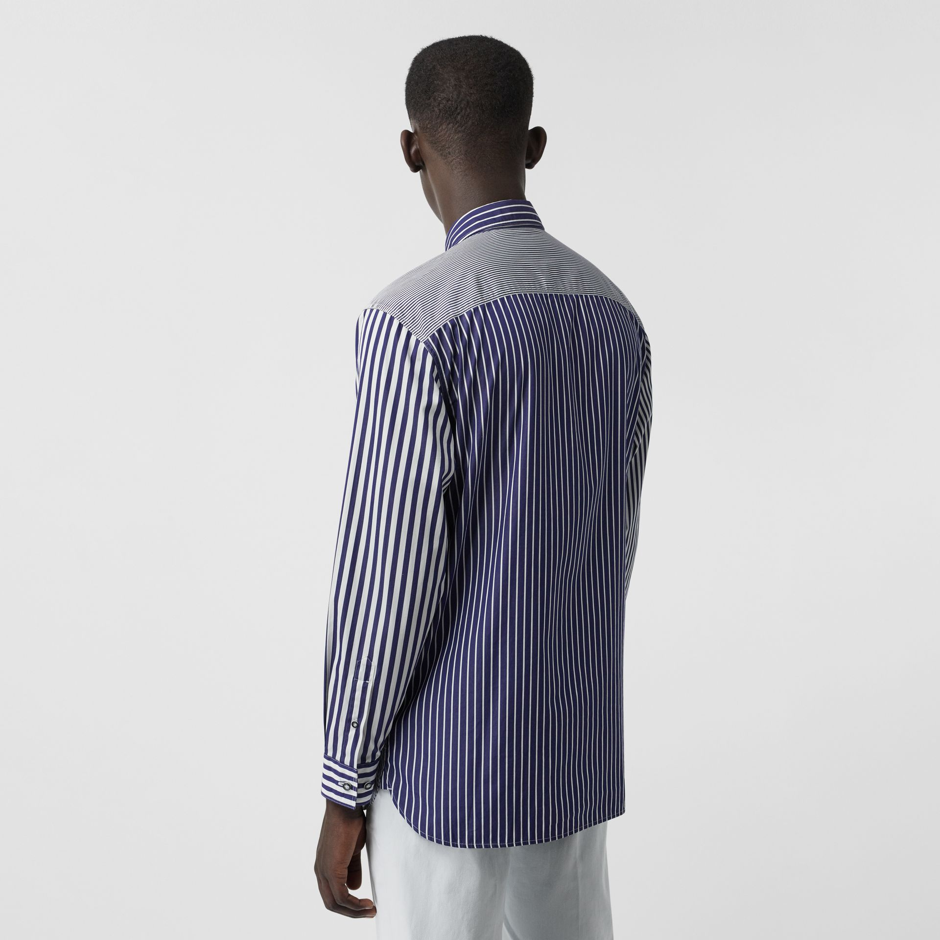 Contrast Stripe Cotton Poplin Shirt in Navy - Men | Burberry - gallery image 2