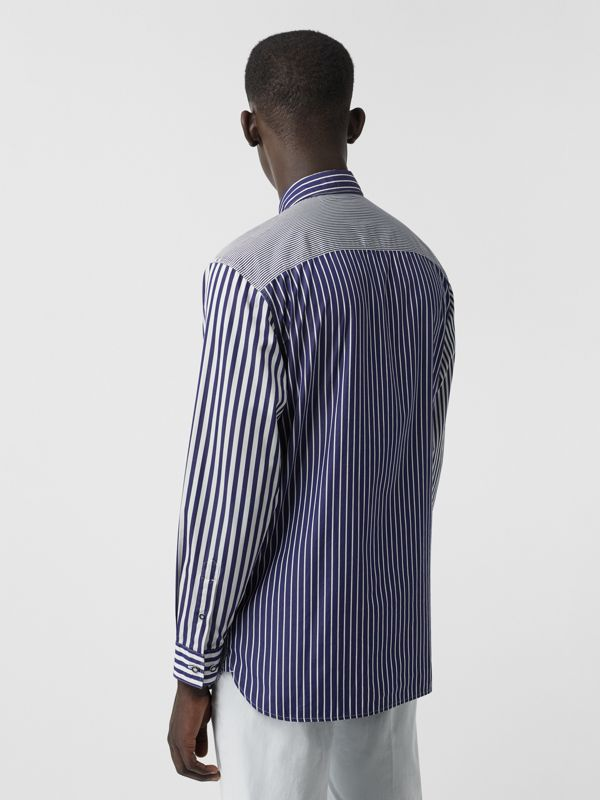 Contrast Stripe Cotton Poplin Shirt in Navy - Men | Burberry - cell image 2